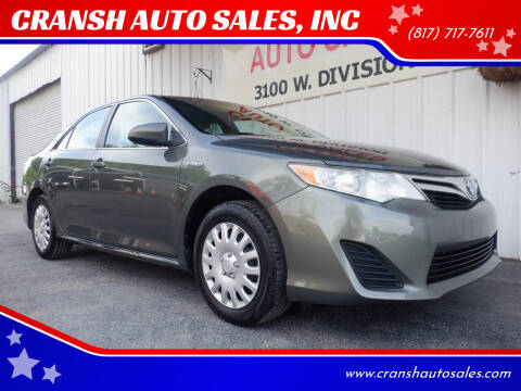 2013 Toyota Camry Hybrid for sale at CRANSH AUTO SALES, INC in Arlington TX