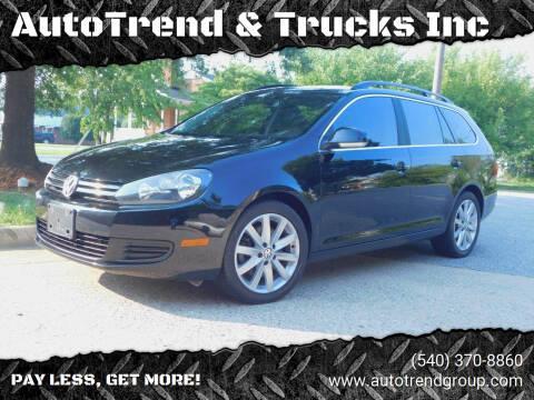 2013 Volkswagen Jetta for sale at AutoTrend & Trucks Inc in Fredericksburg VA