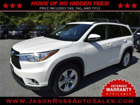2015 Toyota Highlander for sale at Jason Ross Auto Sales in Burlington NC