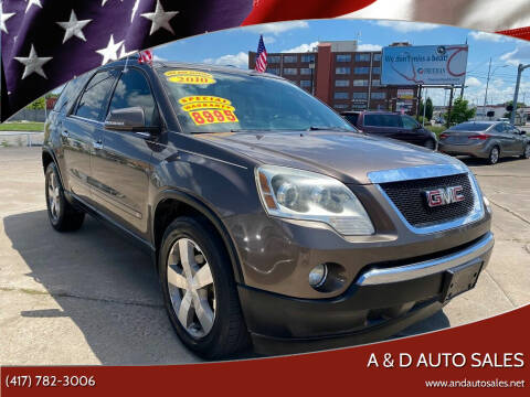 2010 GMC Acadia for sale at A & D Auto Sales in Joplin MO