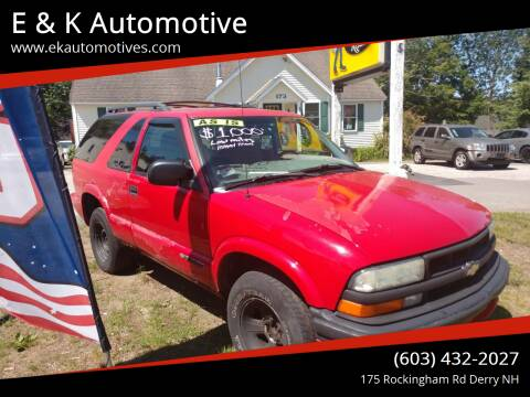 2001 Chevrolet Blazer for sale at E & K Automotive in Derry NH