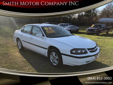 2002 Chevrolet Impala for sale at Smith Motor Company INC in Mc Cormick SC