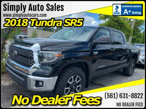 2018 Toyota Tundra for sale at Simply Auto Sales in Palm Beach Gardens FL