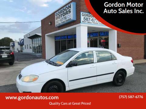 2007 Toyota Corolla for sale at Gordon Motor Auto Sales Inc. in Norfolk VA