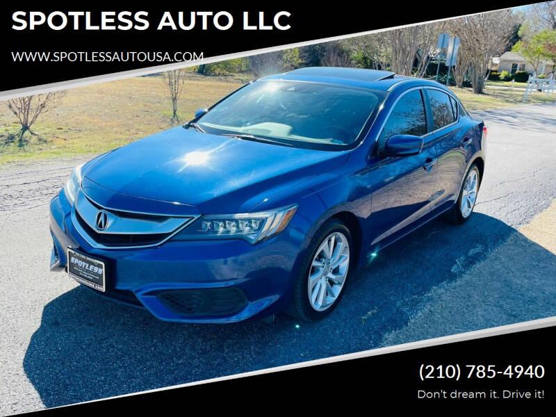 2016 Acura ILX for sale at SPOTLESS AUTO LLC in San Antonio TX