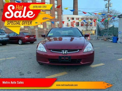 2005 Honda Accord for sale at Metro Auto Sales in Lawrence MA
