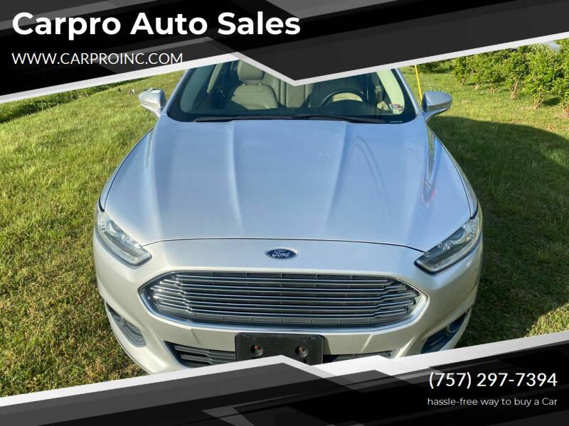 2013 Ford Fusion for sale at Carpro Auto Sales in Chesapeake VA