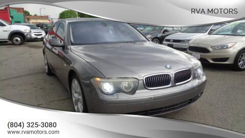 2004 BMW 7 Series for sale at RVA MOTORS in Richmond VA