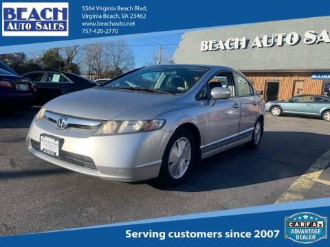 2008 Honda Civic for sale at Beach Auto Sales in Virginia Beach VA