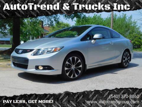 2013 Honda Civic for sale at AutoTrend & Trucks Inc in Fredericksburg VA