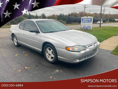 2003 Chevrolet Monte Carlo for sale at SIMPSON MOTORS in Youngstown OH