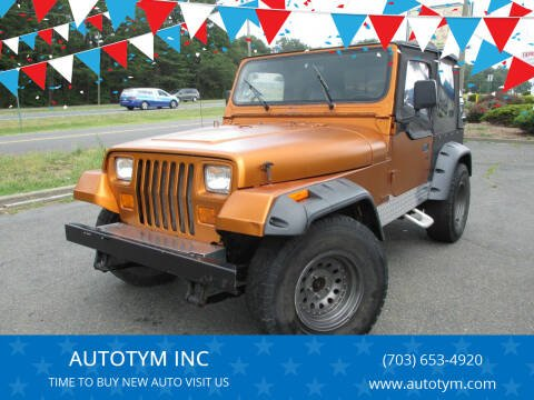 1993 Jeep Wrangler for sale at AUTOTYM INC in Fredericksburg VA