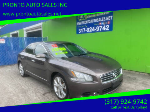 2012 Nissan Maxima for sale at PRONTO AUTO SALES INC in Indianapolis IN