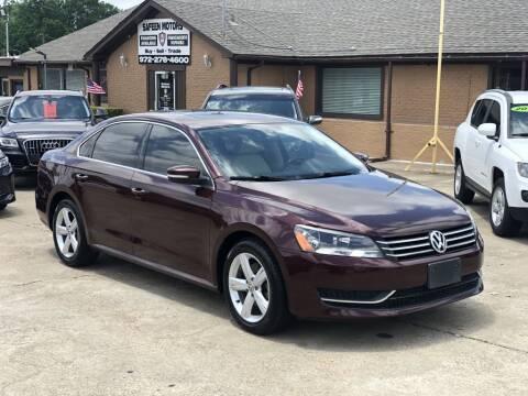 2013 Volkswagen Passat for sale at Safeen Motors in Garland TX