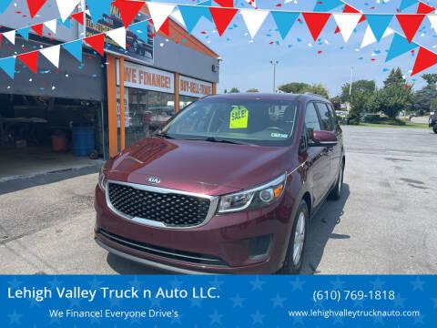 2016 Kia Sedona for sale at Lehigh Valley Truck n Auto LLC. in Schnecksville PA