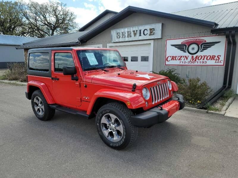 2017 Jeep Wrangler for sale at CRUZ'N MOTORS in Spirit Lake IA