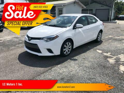 2016 Toyota Corolla for sale at LC Motors 1 Inc. in Orlando FL