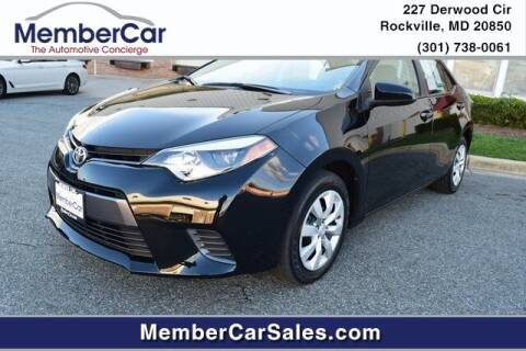 2016 Toyota Corolla for sale at MemberCar in Rockville MD