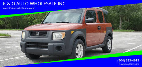 2005 Honda Element for sale at K & O AUTO WHOLESALE INC in Jacksonville FL