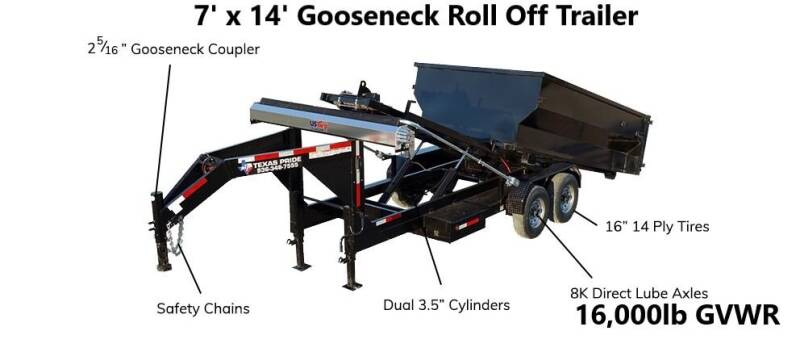 2021 TEXAS PRIDE 7'X14' Gooseneck Roll Off 16K for sale at Montgomery Trailer Sales - Texas Pride in Conroe TX
