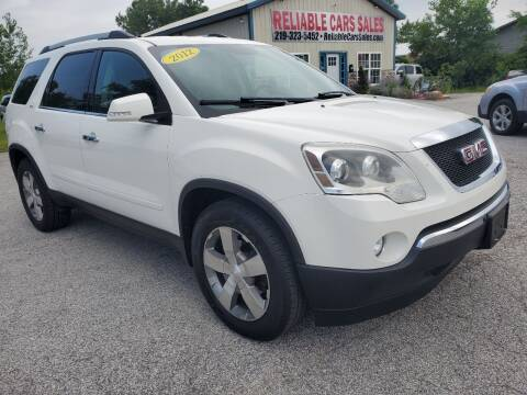 2012 GMC Acadia for sale at Reliable Cars Sales in Michigan City IN