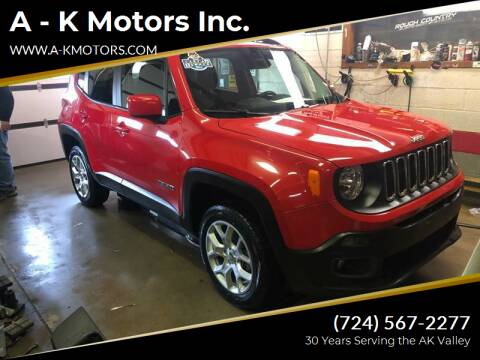 2017 Jeep Renegade for sale at A - K Motors Inc. in Vandergrift PA