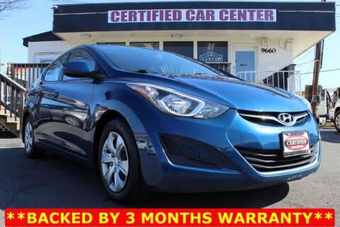 2016 Hyundai Elantra for sale at CERTIFIED CAR CENTER in Fairfax VA