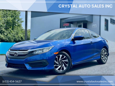 2016 Honda Civic for sale at Crystal Auto Sales Inc in Nashville TN