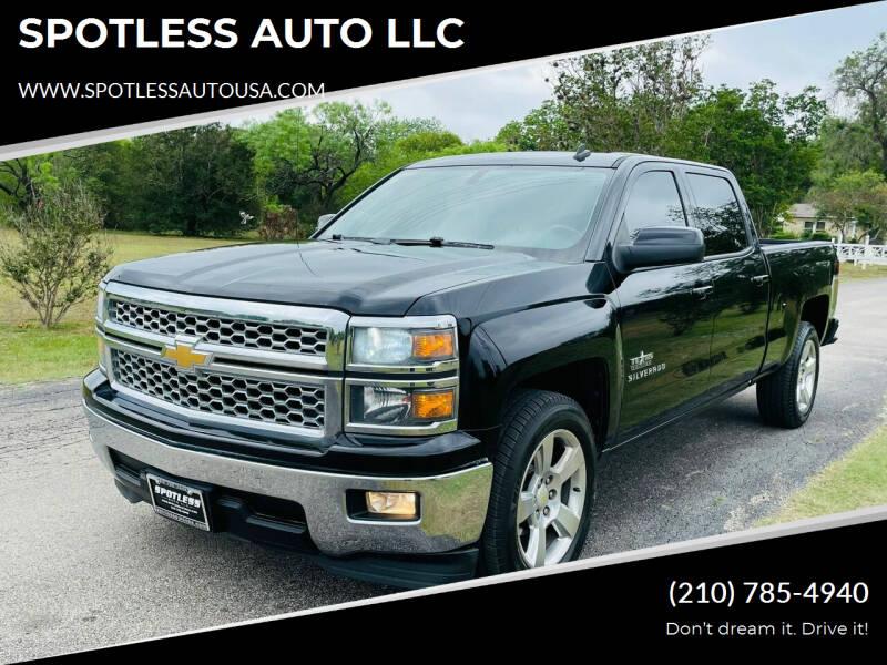 2014 Chevrolet Silverado 1500 for sale at SPOTLESS AUTO LLC in San Antonio TX