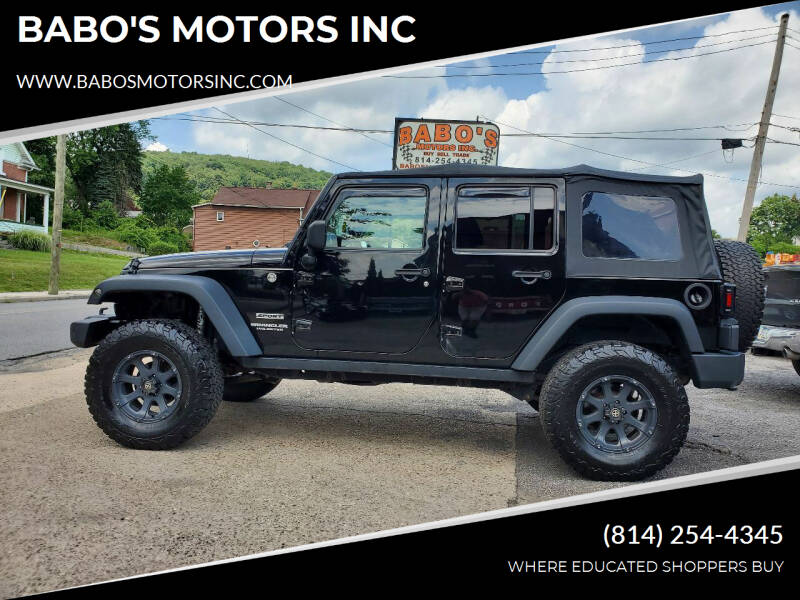 2014 Jeep Wrangler Unlimited for sale at BABO'S MOTORS INC in Johnstown PA