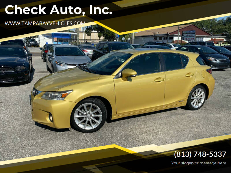2011 Lexus CT 200h for sale at CHECK  AUTO INC. in Tampa FL