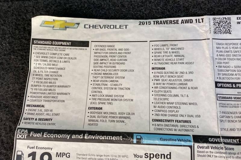 2015 Chevrolet Traverse AWD LT 4dr SUV w/1LT - East Greenbush NY