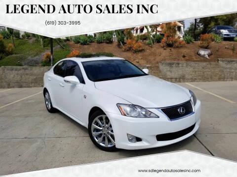 2010 Lexus IS 250 for sale at Legend Auto Sales Inc in Lemon Grove CA