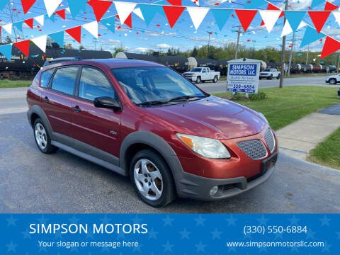 2006 Pontiac Vibe for sale at SIMPSON MOTORS in Youngstown OH