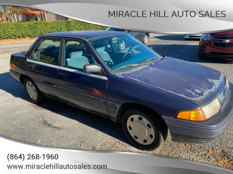 1995 Ford Escort for sale at MIRACLE HILL AUTO SALES in Greenville SC