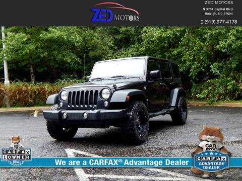 2015 Jeep Wrangler Unlimited for sale at Zed Motors in Raleigh NC