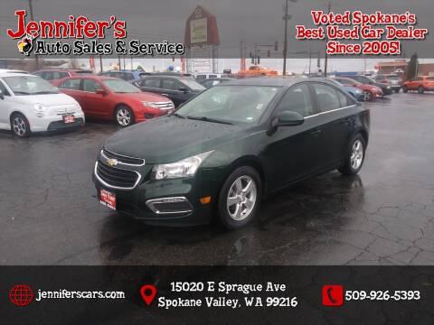 2015 Chevrolet Cruze for sale at Jennifer's Auto Sales in Spokane Valley WA