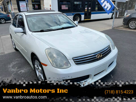 2003 Infiniti G35 for sale at Vanbro Motors Inc in Staten Island NY