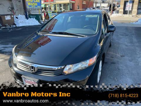2012 Honda Civic for sale at Vanbro Motors Inc in Staten Island NY