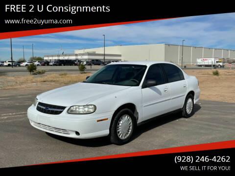 2002 Chevrolet Malibu for sale at FREE 2 U Consignments in Yuma AZ
