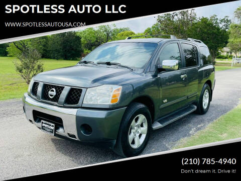 2005 Nissan Armada for sale at SPOTLESS AUTO LLC in San Antonio TX