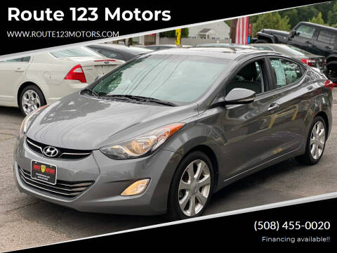 2013 Hyundai Elantra for sale at Route 123 Motors in Norton MA
