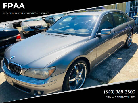 2006 BMW 7 Series for sale at FPAA in Fredericksburg VA