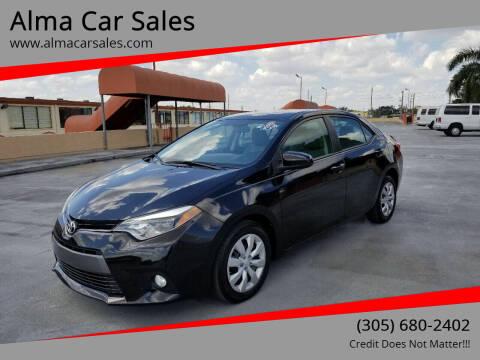 2015 Toyota Corolla for sale at Alma Car Sales in Miami FL