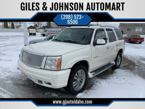 2005 Cadillac Escalade for sale at GILES & JOHNSON AUTOMART in Idaho Falls ID