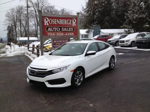 2016 Honda Civic for sale at Rosenberger Auto Sales LLC in Markleysburg PA