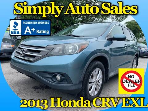 2013 Honda CR-V for sale at Simply Auto Sales in Palm Beach Gardens FL