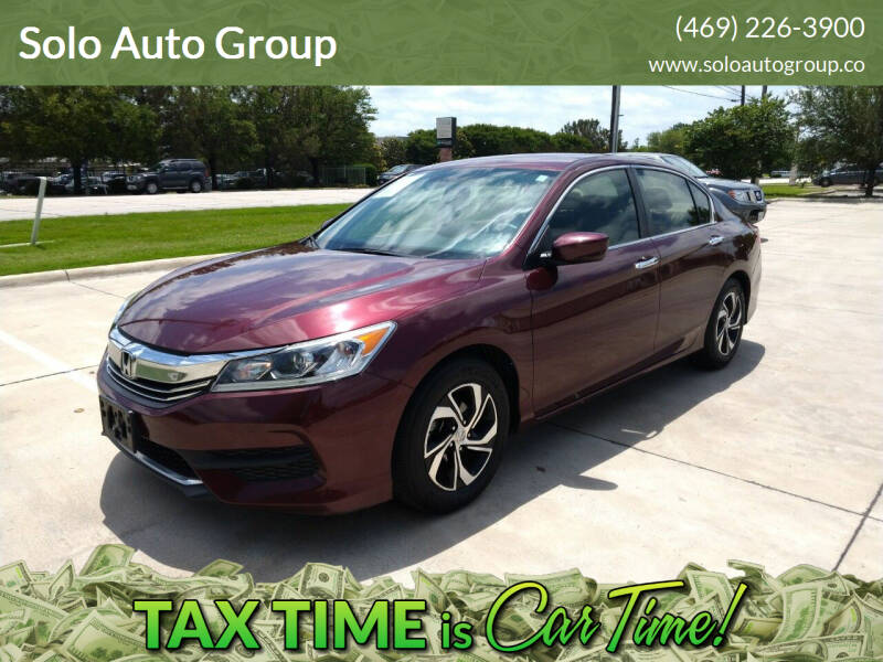 2016 Honda Accord for sale at Solo Auto Group in Mckinney TX