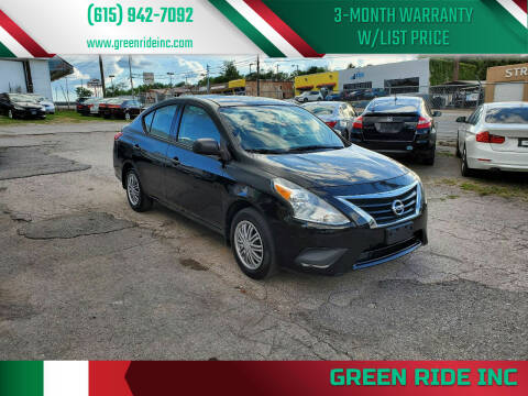 2015 Nissan Versa for sale at Green Ride Inc in Nashville TN
