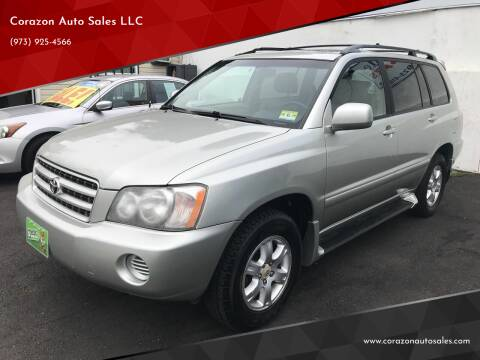 2003 Toyota Highlander for sale at Corazon Auto Sales LLC in Paterson NJ